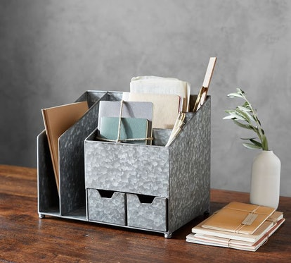 Brokers Galvanized Multi Desk Organizer