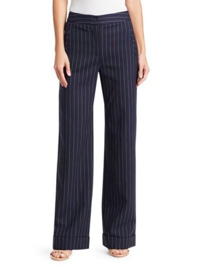 Pinstripe Wool-Blend Pants