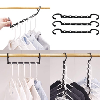 HOUSE DAY Household Mall Pack of 10 Pcs 15 inch Black Magic Hangers