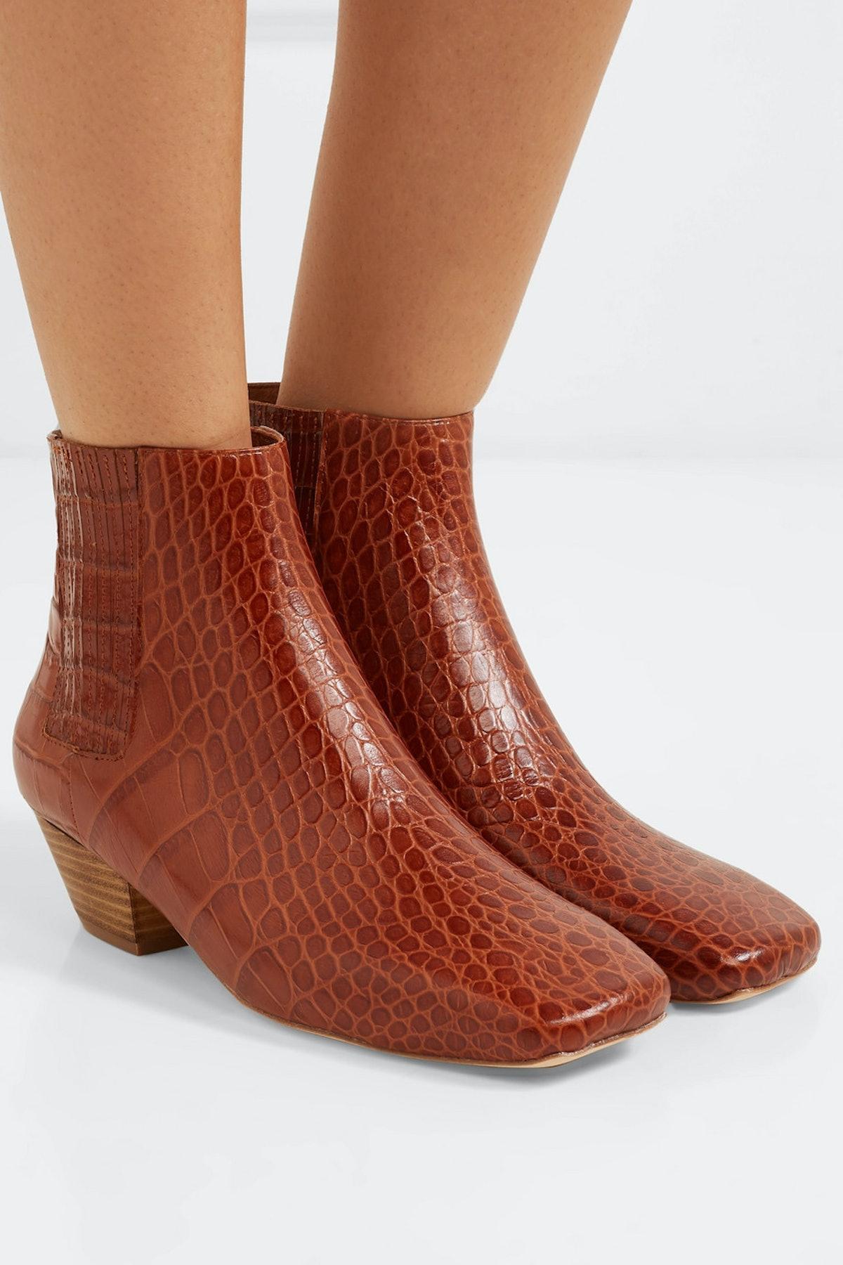Salsa Croc-Effect Vegan Leather Ankle Boots