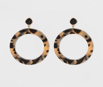 SUGARFIX By BaubleBar Resin Hoop Earrings With Druzy