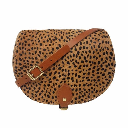 Cheetah Print Leather Saddle Bag In Tan With Back Pocket