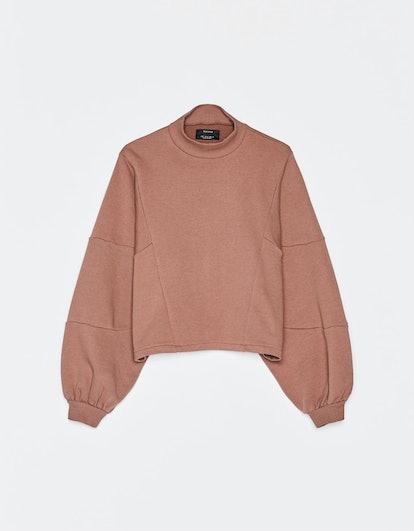 Cropped high neck sweatshirt