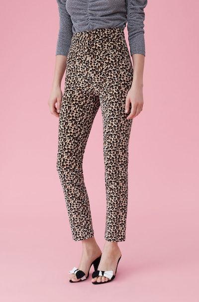 Leopard Print Velveteen Pants
