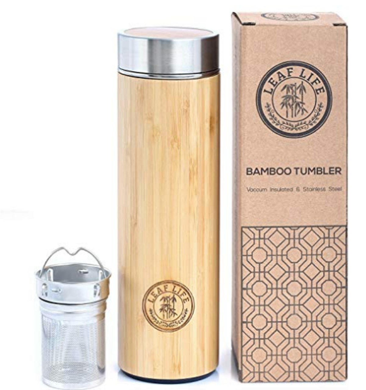 Original Bamboo Tumbler with Tea Infuser & Strainer by LeafLife