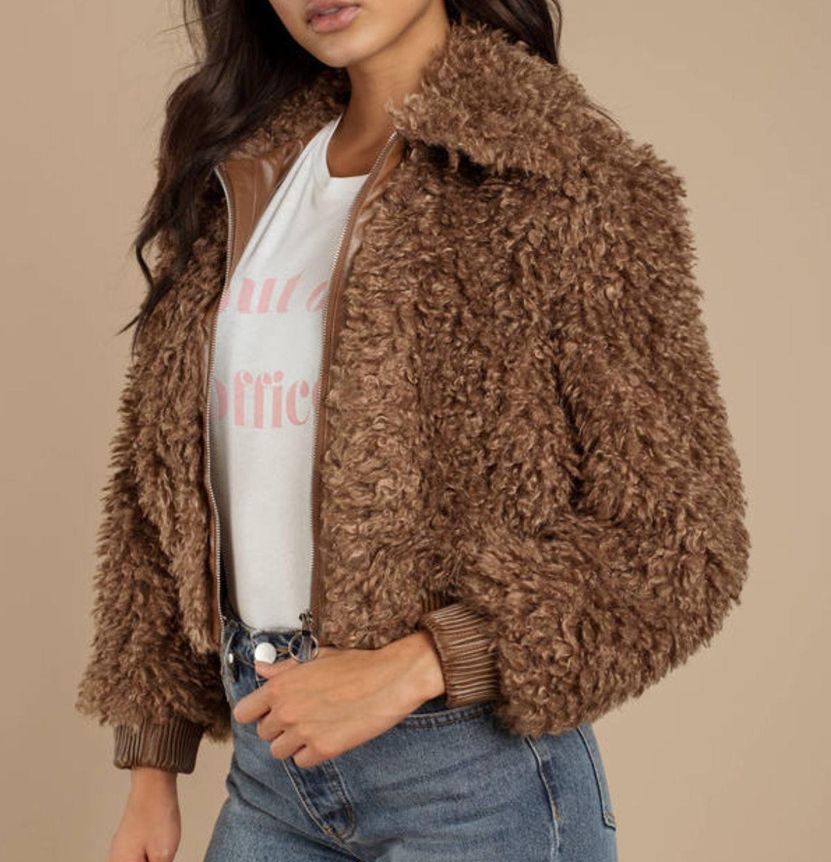 Astr Phoenix Mocha Faux Fur Jacket