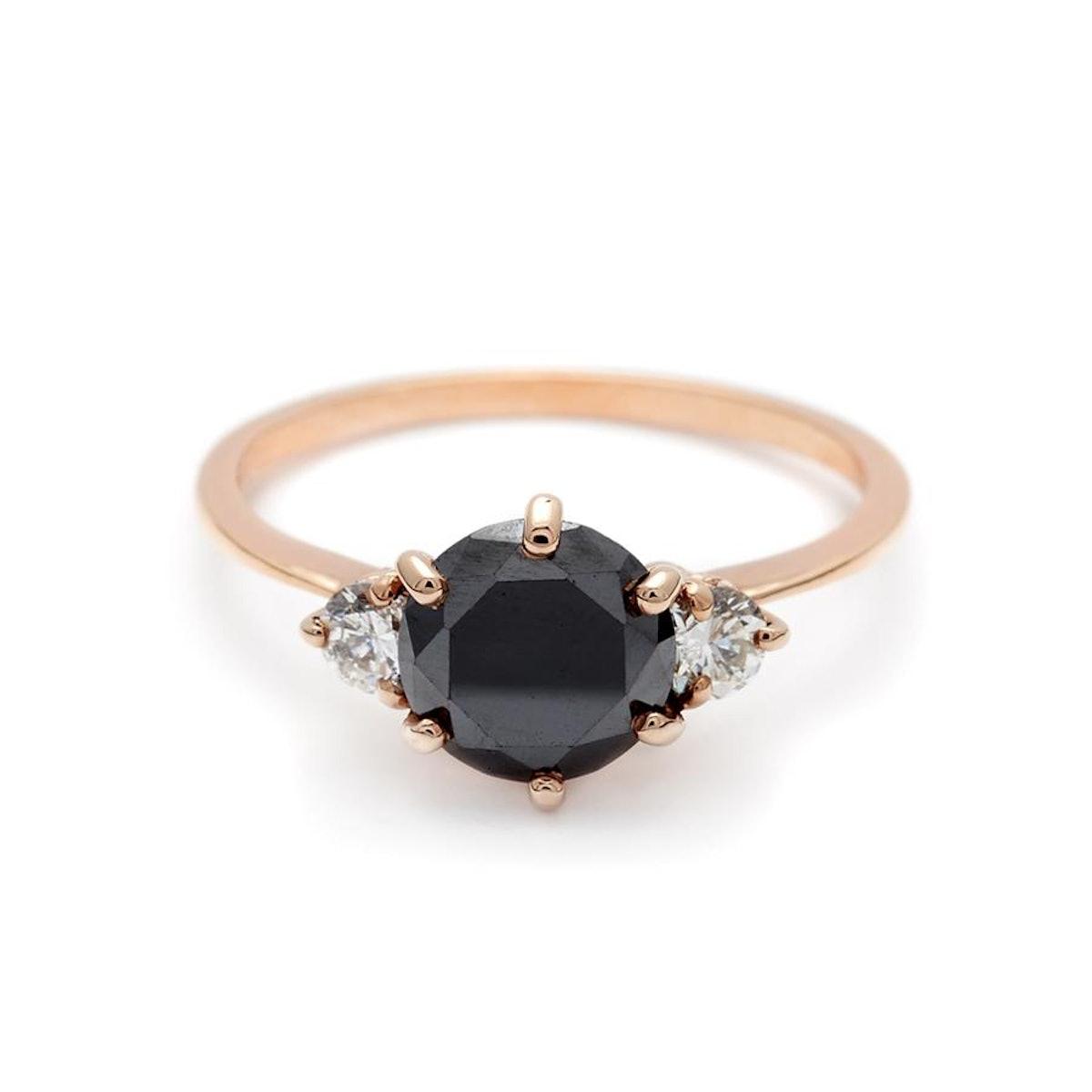Hazeline Three Stone Ring Rose Gold & Black Diamond