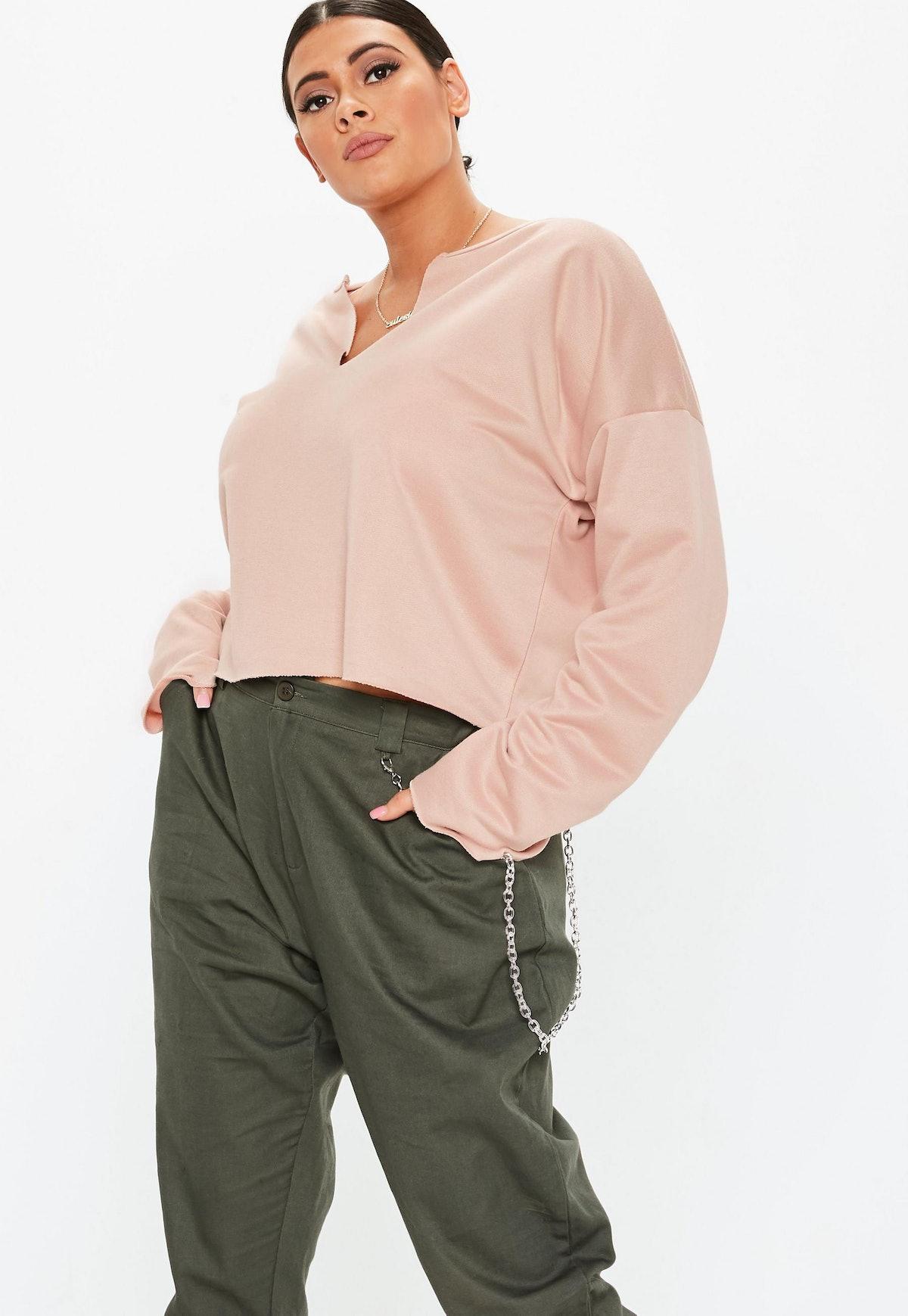 plus size blush cropped sweatshirt