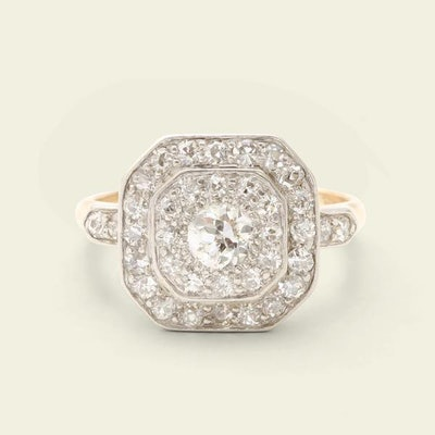Edwardian Octagonal Diamond Cluster Ring
