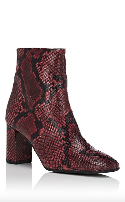 Square-Toe Snakeskin Ankle Boots
