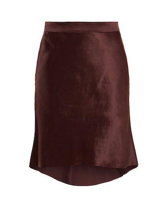 Bias Godet Satin Slip Skirt
