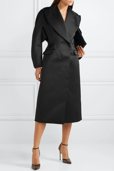 Double-Breasted Duchesse-Satin Coat