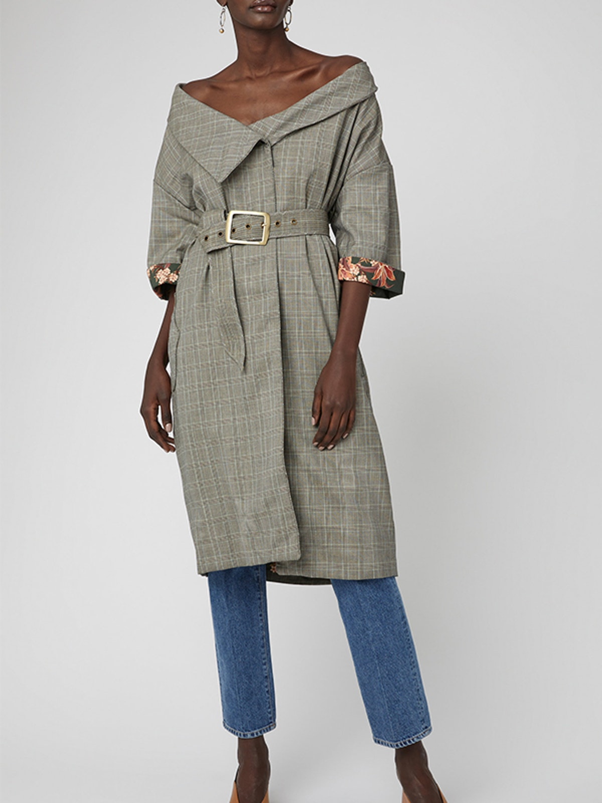 Tradition Belted Printed Wool-Felt Coat