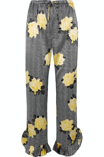 Ruffle-Trimmed Straight-Leg Pants
