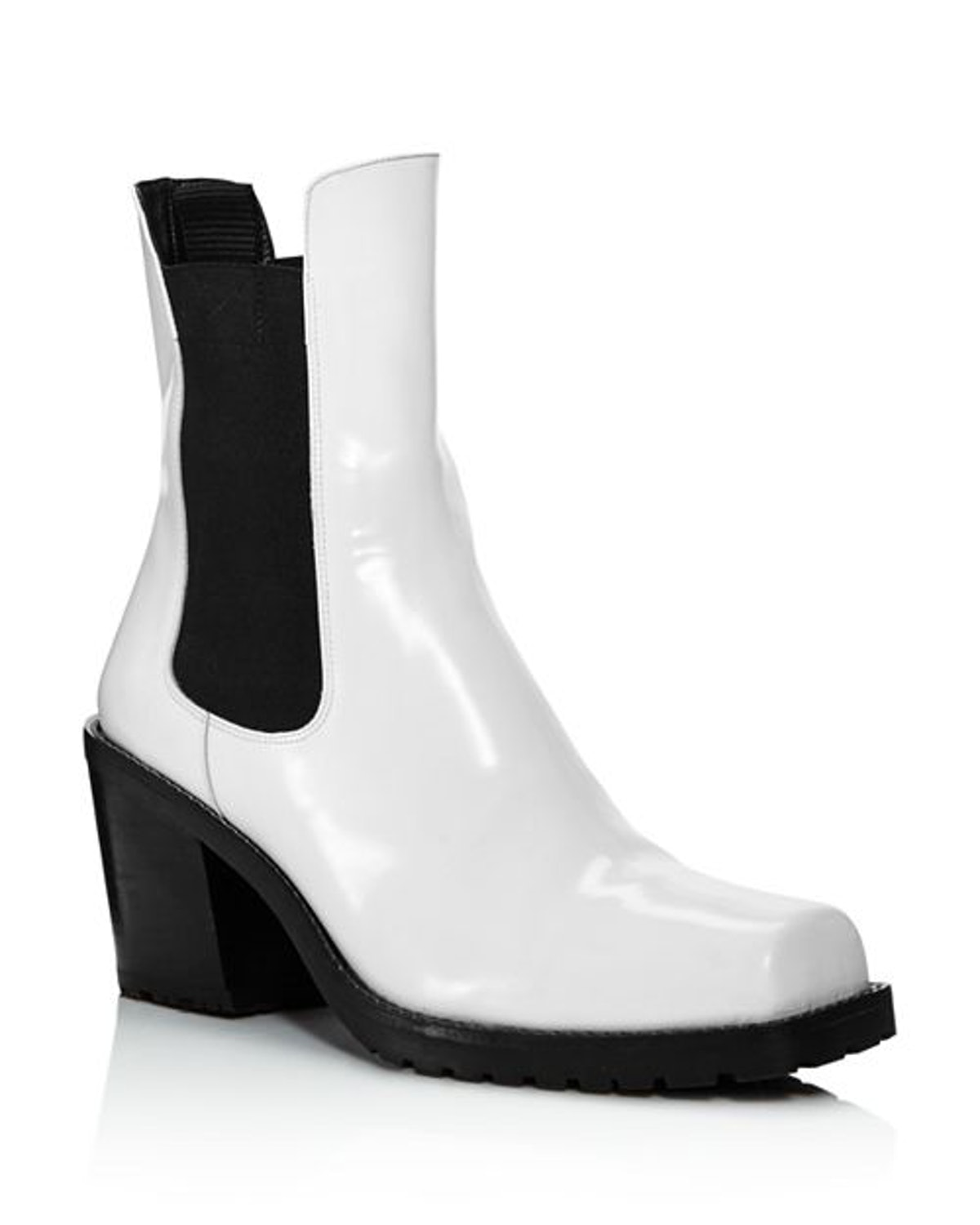 Crawford Square Toe Patent Leather Mid-Heel Booties