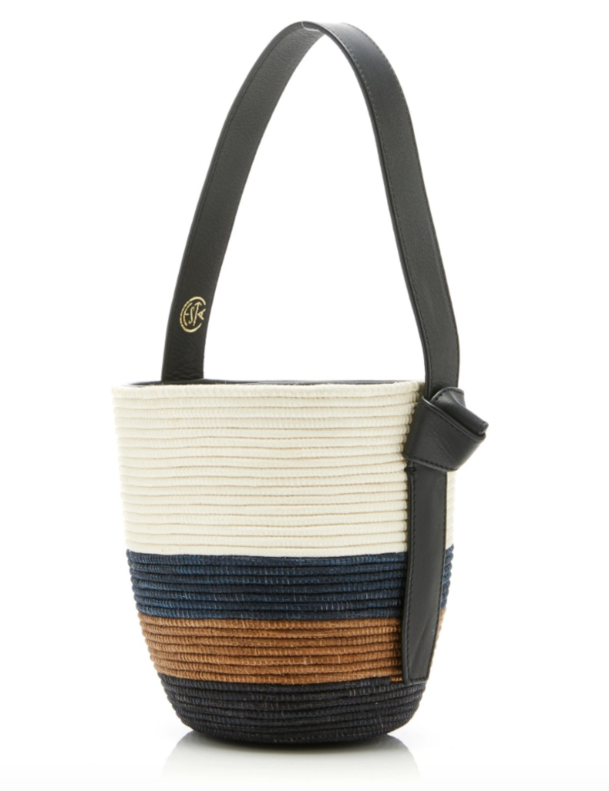 Lunchpail Leather-Trimmed Striped Sisal Bag