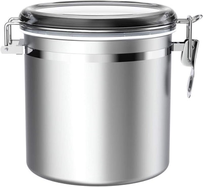 ENLOY Stainless Steel Airtight Canister With Clear Lid & Sturdy Locking Clamp
