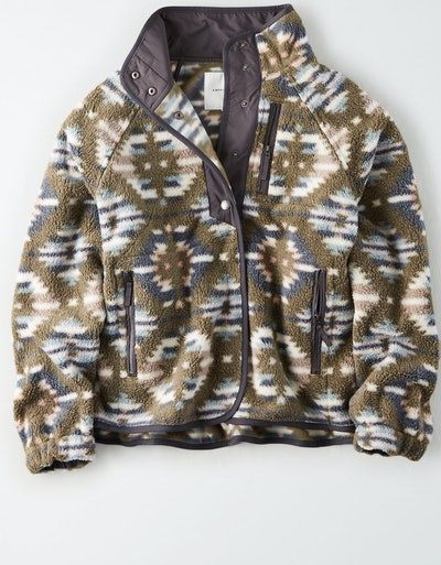 American Eagle Printed Fleece Jacket