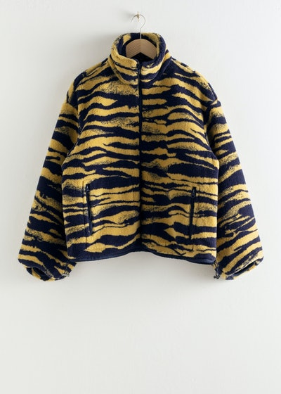 Tiger Print Utility Fleece Jacket