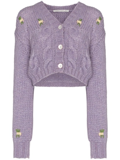 Floral Detail Cropped Knit Cardigan