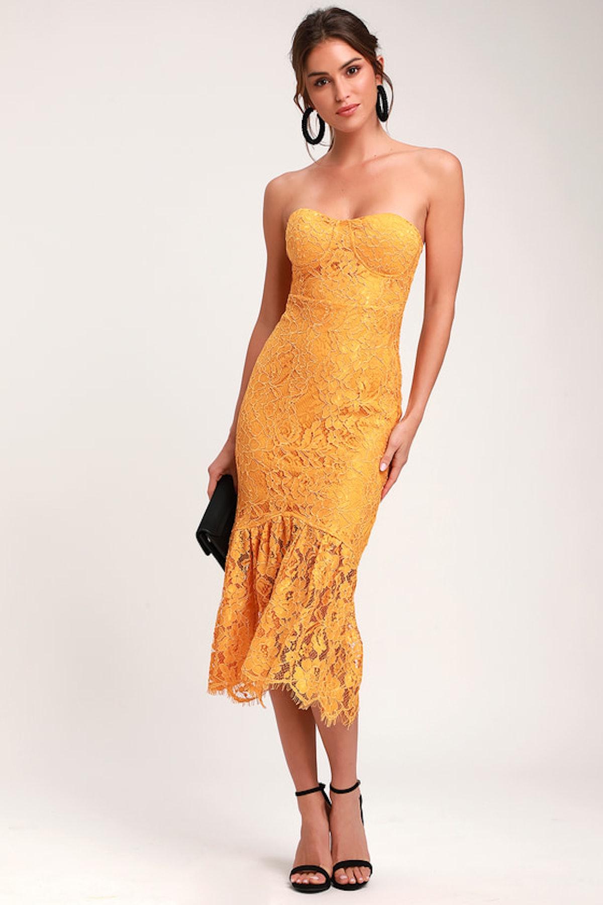 Divine Nights Golden Yellow Lace Strapless Midi Dress