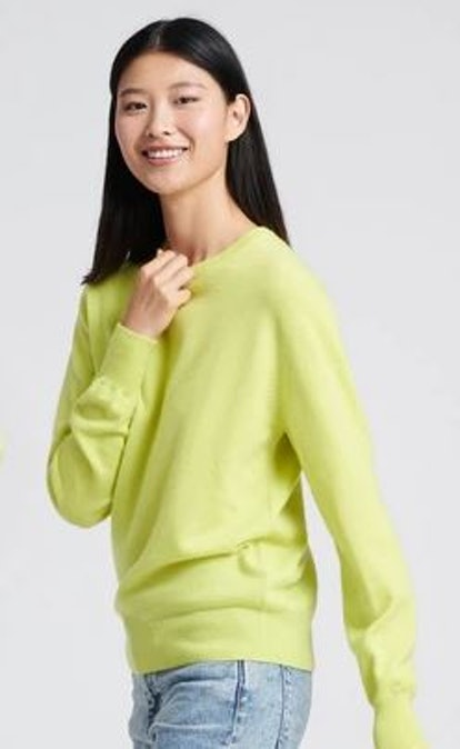 The Essential $75 Cashmere Sweater Neon Yellow
