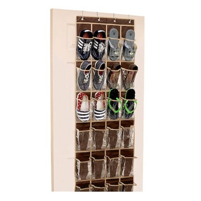 SimpleHouseware Crystal Clear Over-The-Door Hanging Shoe Organizer