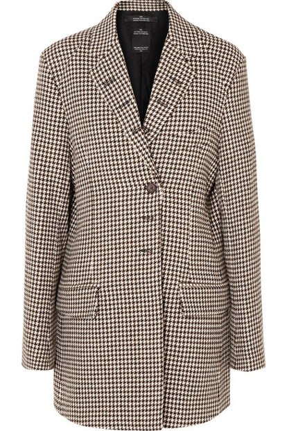 Oversized Houndstooth Tweed Blazer