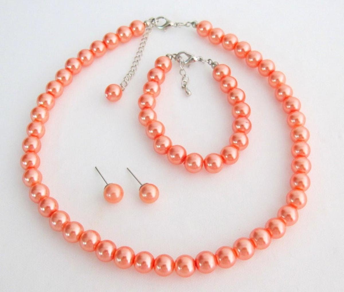Orange Pearl Set Orange Pearl Necklace Orange Pearl Bracelet Orange Pearl Earrings Bridesmaid Free S...