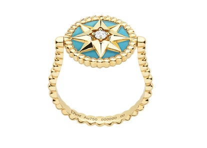 Rose des Vents Ring, 18k Yellow Gold, Diamond And Turquoise