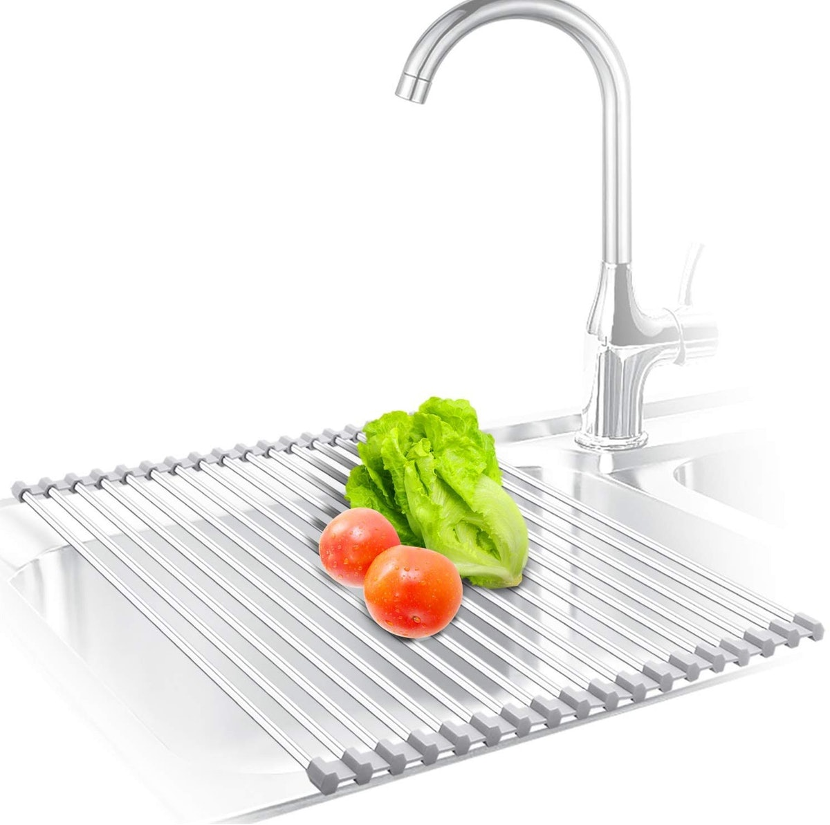 KIBEE Stainless Steel Roll Up Over The Sink Drainer