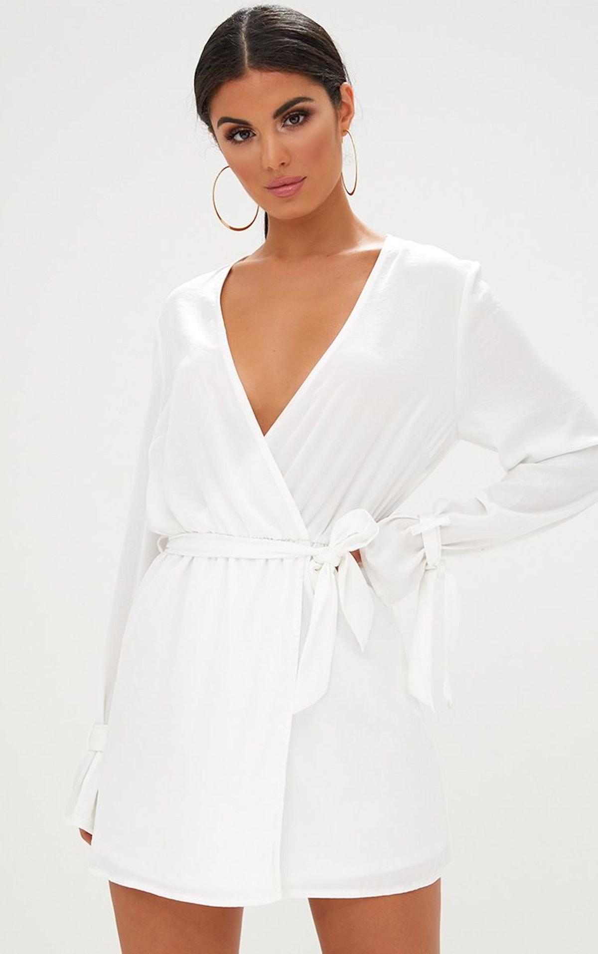 White Satin Wrap Cuff Detail Shift Dress