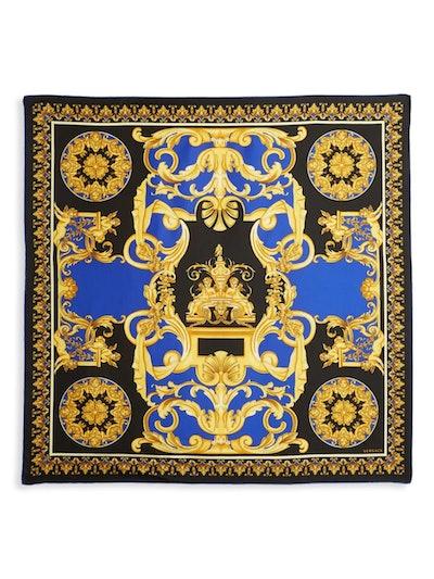 Baroque-Print Silk Scarf