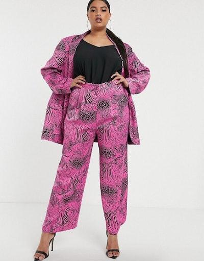 ASOS DESIGN Curve Pink Animal Suit
