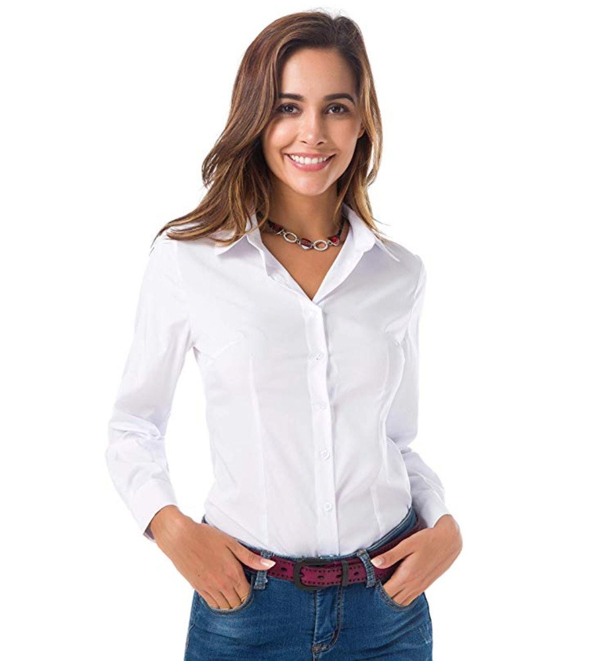 Atnlewhi Womens Basic Long Sleeve Button Down Shirt