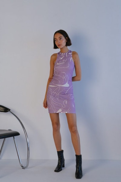 Cathari Emblazoned Racer Dress In Lilac Haze