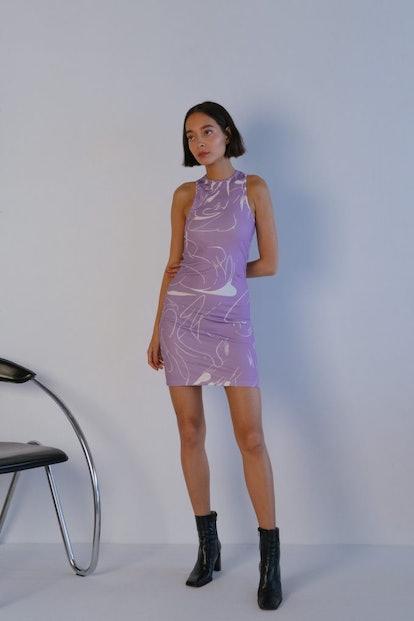 Cathari Emblazoned Racer Dress In Lilac Haze