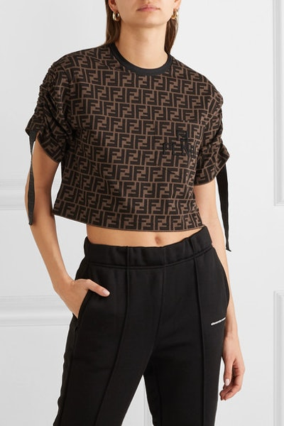 Cropped Printed Cotton-Jersey T-shirt