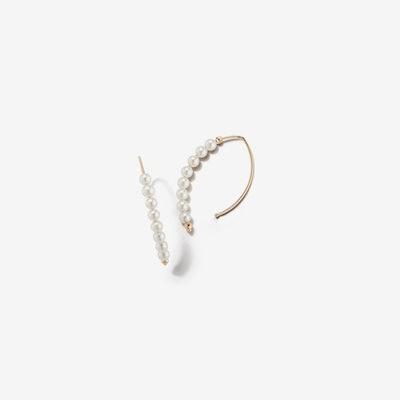 Small Open Marquis Hoop Pearl Earrings