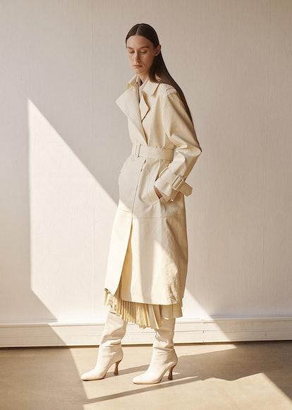 Eve Textured Trench Coat in Beige