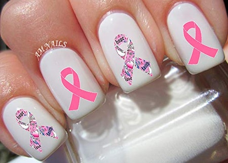 Breast Cancer Ribbon Nail Art Transfers Stickers