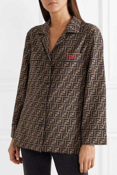 Embroidered Printed Silk-Satin Shirt