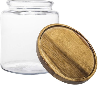 Anchor Hocking 96-Ounce Clear Glass Storage Jars With Wood Lids (2-Pack)