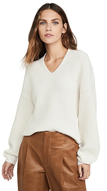 Shaped Ribbed Cashmere Sweater