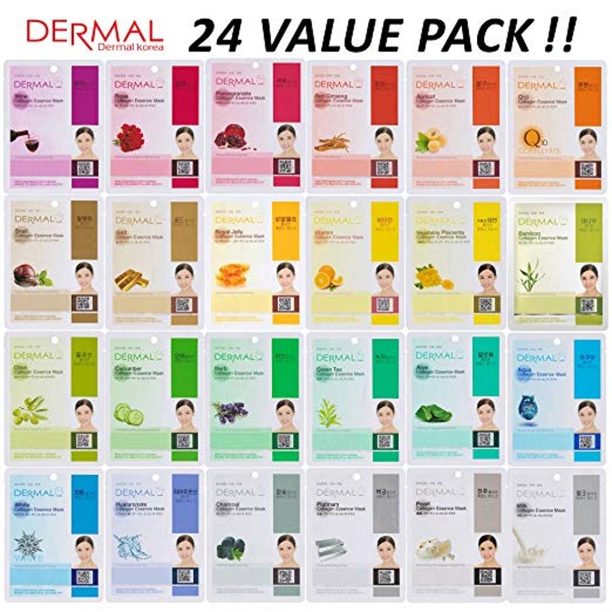 DERMAL Collagen Essence Full Face Facial Mask Sheet (24-Pack)