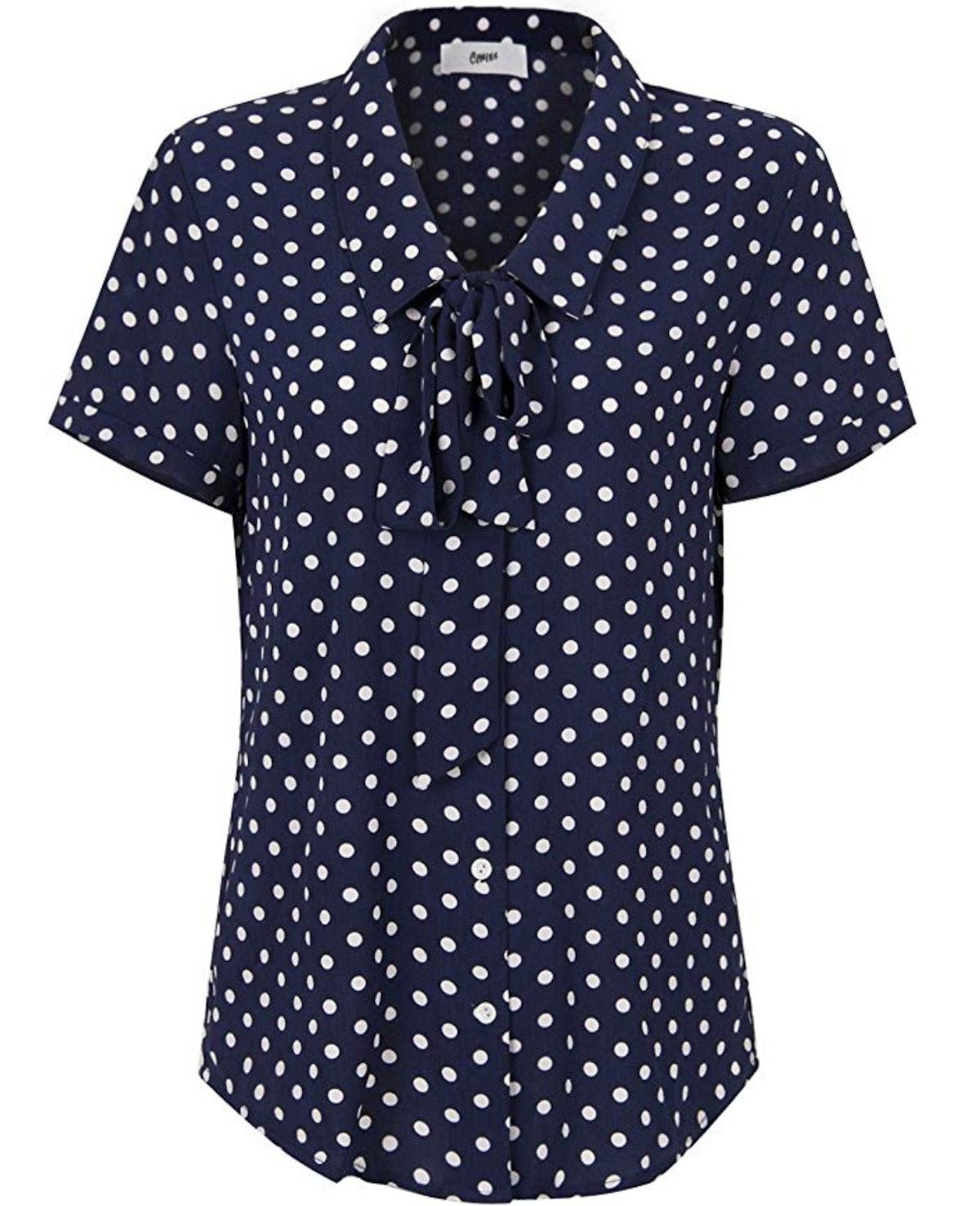 Choies Women Royal Blue Vintage Bow Tie Front Polka Dot Print Short Sleeve Shirt