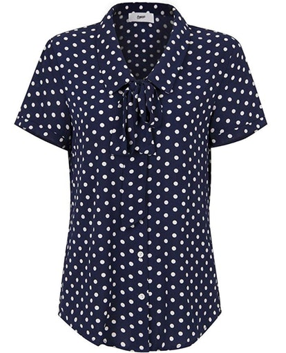 Choies Women Royal Blue Vintage Bow Tie Front Polka Dot Print Short Sleeve Shirt