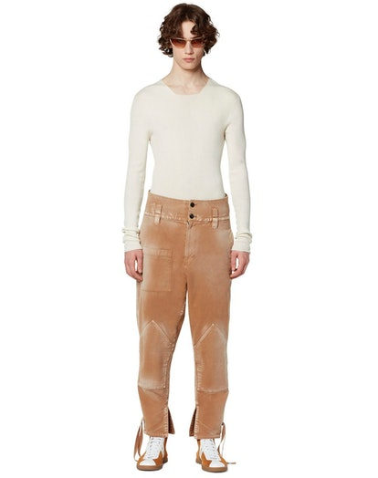 Canvas Pants With Ribbons