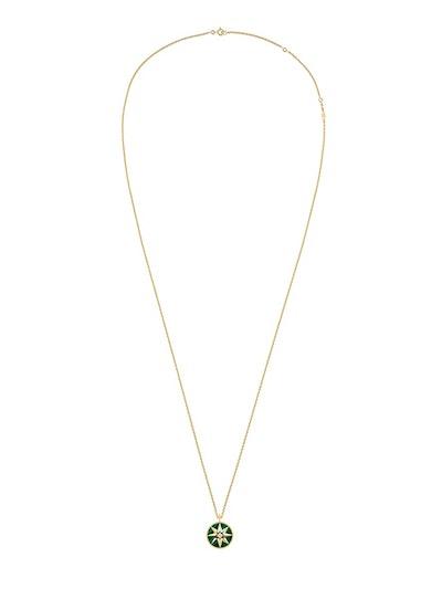Rose des Vents Medallion Necklace, 18k Yellow Gold, Diamond and Malachite