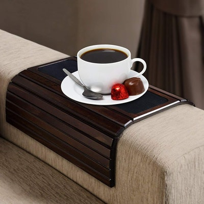 Kleeger Sofa Arm Tray Table: Wood Side Table Tray